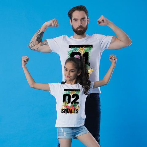 Tropical print, Dad And Daughter Matching Tees