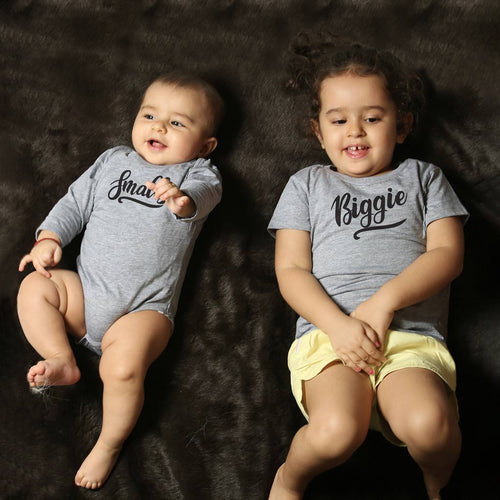 Smalls/Biggie, Matching Bodysuit And Tee For Brother And Sister