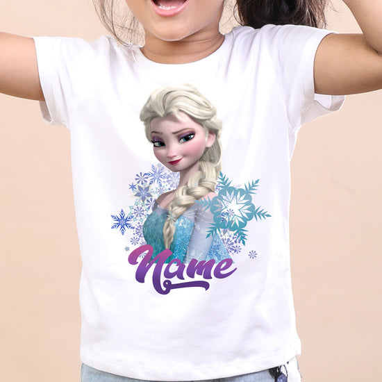 Elsa in Snowflakes, Customized Frozen Tee For Birthday Girl
