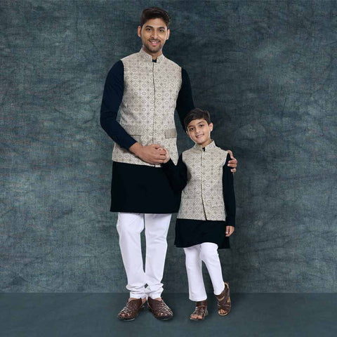 Beige Printed bandi with black kurta & white pyjama set for Father-Son