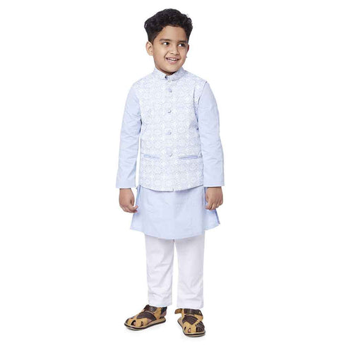 Light Blue Printed bandi with kurta and pyjama set for father son
