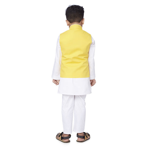 Yellow Embroidered bandi with white kurta pyjama set for father son