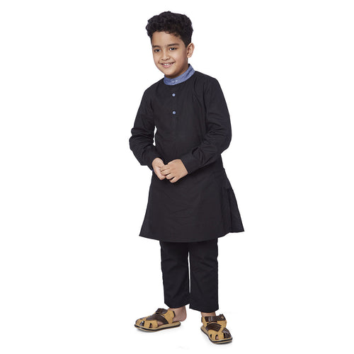Father son Contrast mandarin collar black kurta pyjama set
