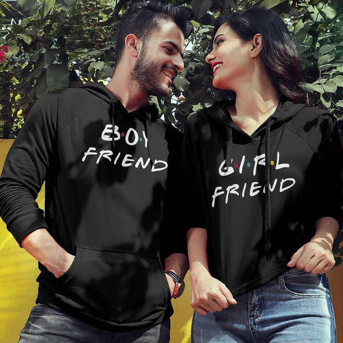 Boy/Girl Friend (Black), Matching Hoodie For Men And Crop Hoodie For Women