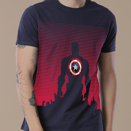 Captain America Shield, Matching Marvel Navy Blue Tees For Dad And Son