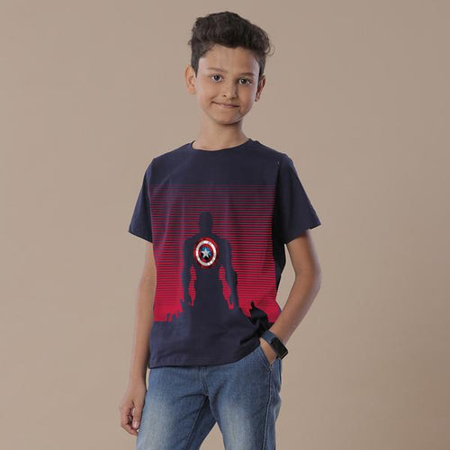 Captain America Shield,Marvel Navy Blue Tees For Son