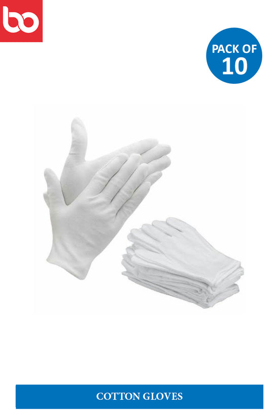 Reusable White Cotton gloves ( pack of 10)