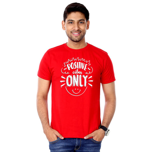 Red Positive Vibes Only Father And Son Tshirt