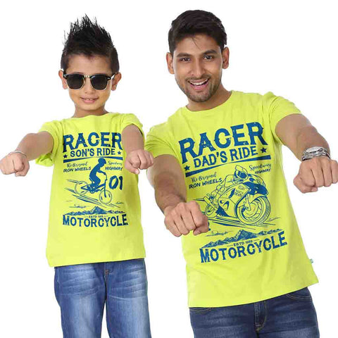 Lime Green Racer Ride Father-Son Tees