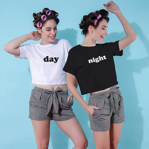 Day And Night, Matching  Shorts with crop tops For Bffs