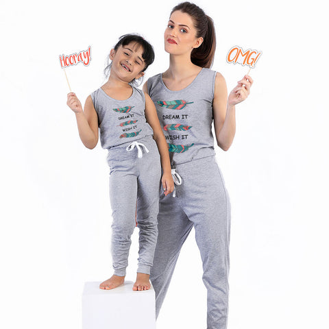 Dream It Wish it (Grey) Matching Sleep Wear For Mom And Daughter