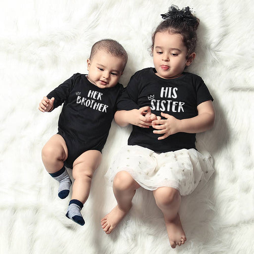 Her Brother-His Sister, Matching Bodysuit And Tee For Brother And Sister