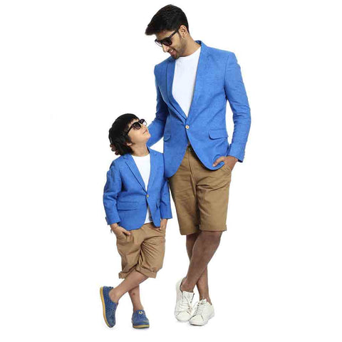 Turquoise blue single button blazer for father-son