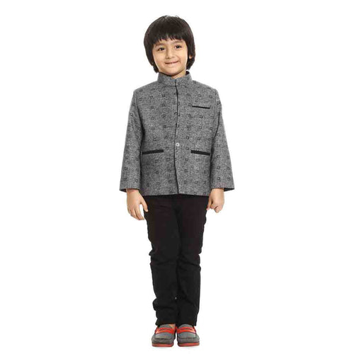 Grey mandarin collar blazer for Father-Son