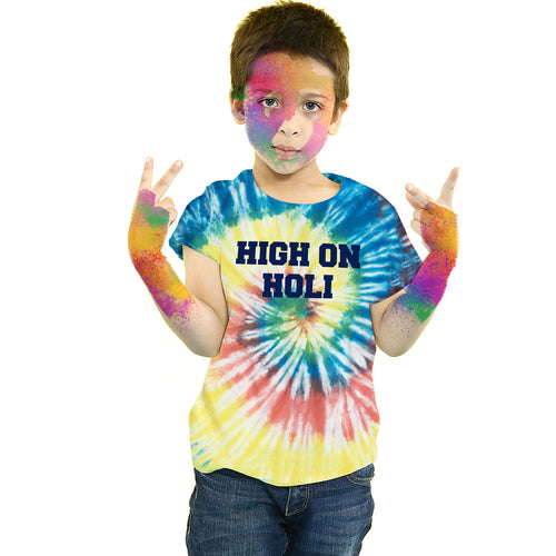 High On Holi, Tie & Dye, Matching Kids Bro & Sis Holi Tees
