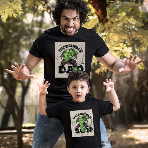 Incredible Hulk Dad/Son, Marvel Matching Black Tees