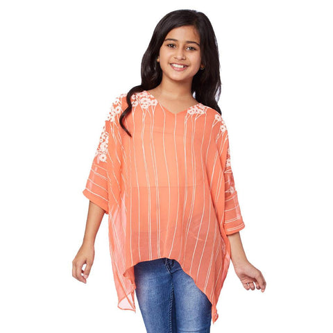 Floral print orange V-neck kaftan for mother daughter