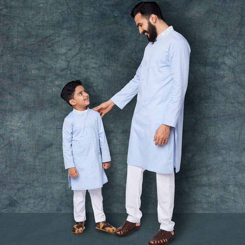 Printed collar light blue kurta and white pyjama set