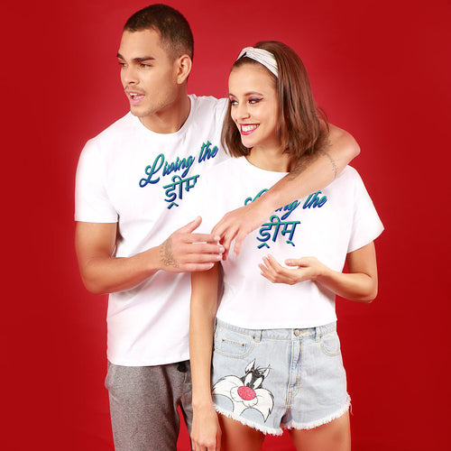 Living The Dream, Matching Couple Crop Top And Tee