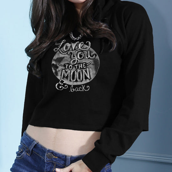 Love You To The Moon Crop Hoodie