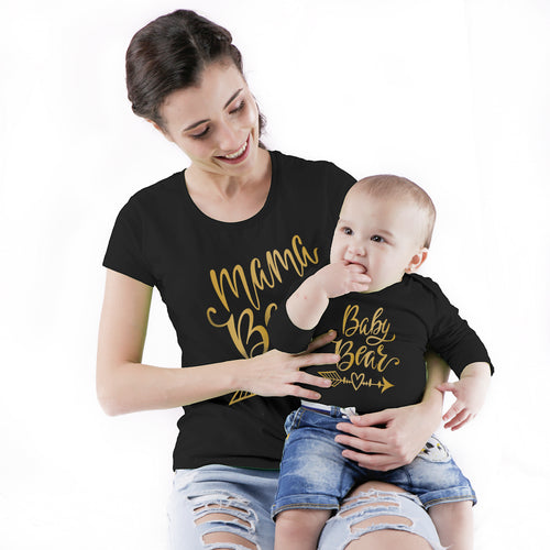 Mama/Baby Bear, Matching Tee And Babysuit For Mom And Baby (Boy)
