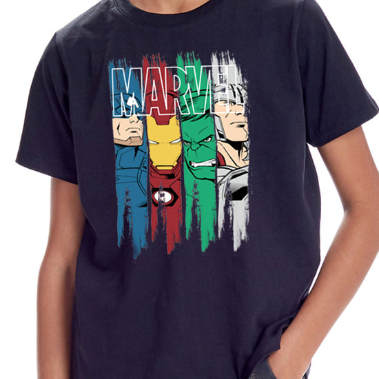 Ironman and Team, Marvel Black Tees For Boys