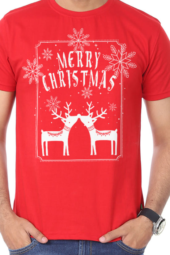 Merry Christmas Reindeer Print, Dad And Baby Bodysuit And Tees