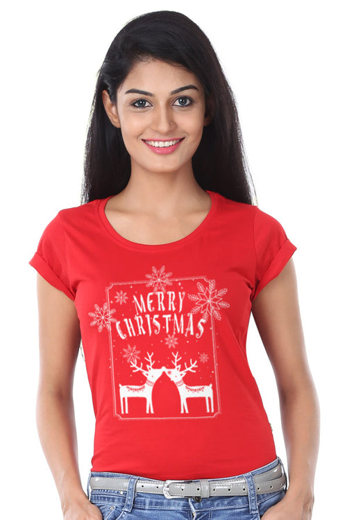 Merry Christmas reindeer print, Family tees for mom