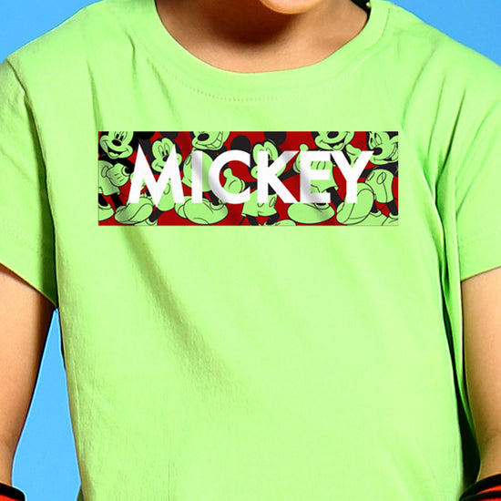 Mickey, Disney Bright Green Kids Tees