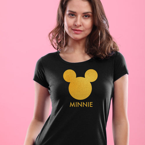 Cute Mickey/Minnie Face, Matching Disney Black Couple Tees For Women