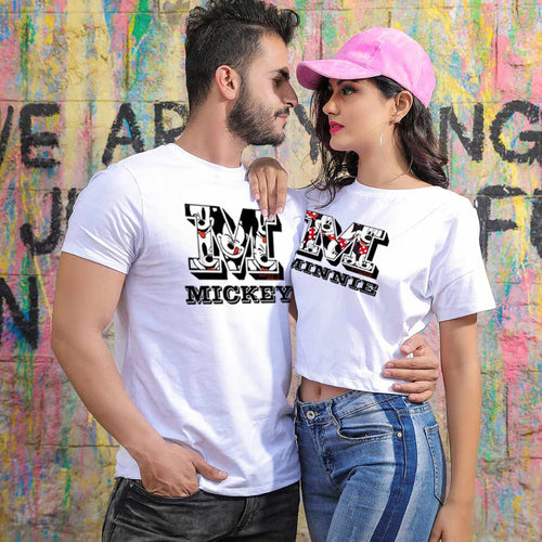 M-Mickey/Minnie, Matching Disney Couple Crop Top And Tee