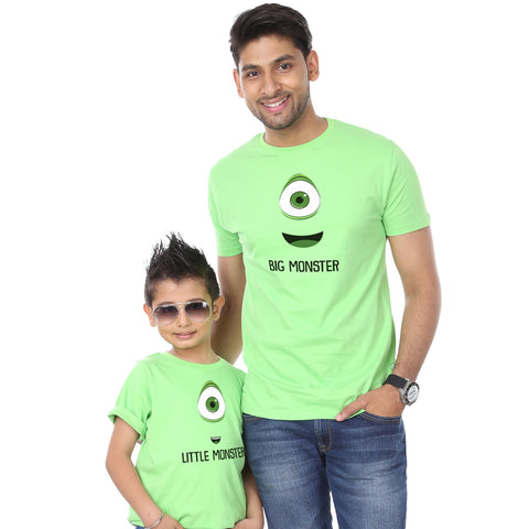 Bright Green Big/Little Monster Father-Son Tees