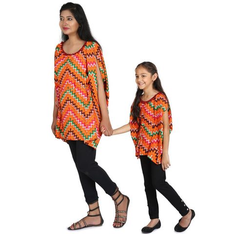 Multicolor Gepmetric Print Kaftan with Legging