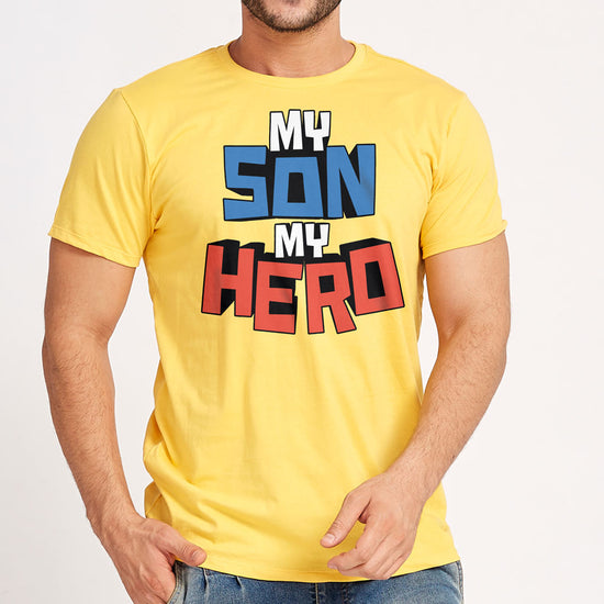 My Son/Dad My Hero Yellow Father Son Tees