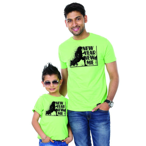 Bright Green New Year New Me Father-Son Tees