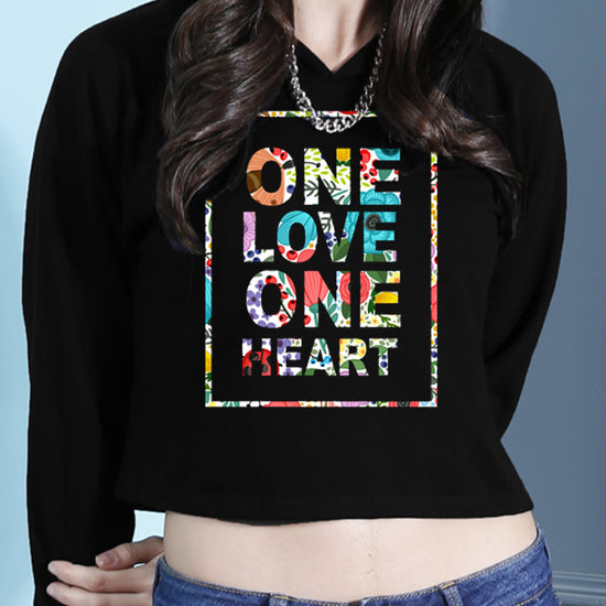 One Love One Heart Crop Hoodie