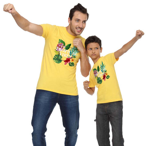Tropical vibes dad & son tee