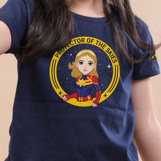 Protector Of The Skies, Captain Marvel Girl Kids Tee