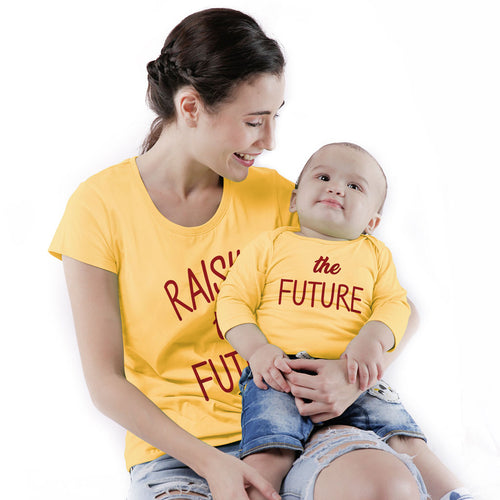 Raising The Future, Matching Tee And Babysuit For Mom And Baby (Boy)