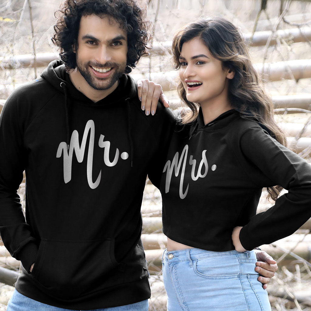 057334246f Mr And Mrs (Black) Matching Hoodie For Men And Crop Hoodie For ...