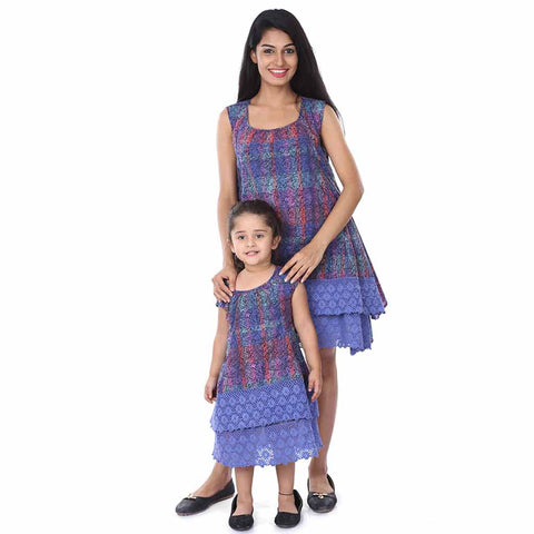 Mother-Daughter Lace Layered Fusion Dress