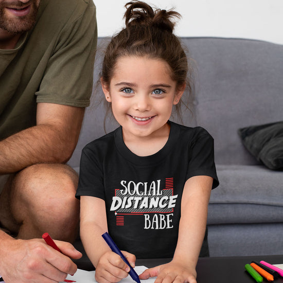Social Distance Dude/Babe Matching Tees For Dad And Daughter