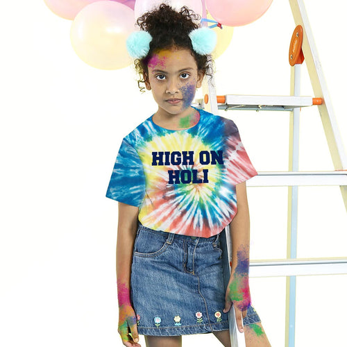 High On Holi, Tie & Dye, Matching Kids Bro & Sis Holi Tees for sister