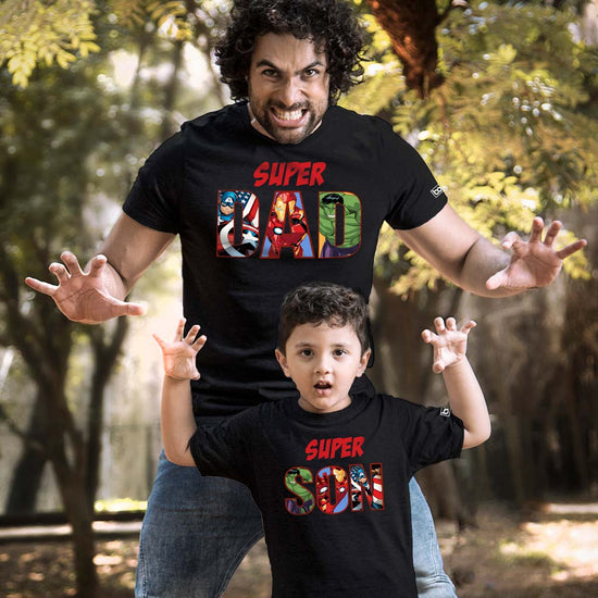 c431e295b3 Super Dad/Son , Matching Marvel Black Tees For Dad And Son ...