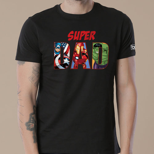 Super Dad/Son , Matching Marvel Black Tees For Dad And Son