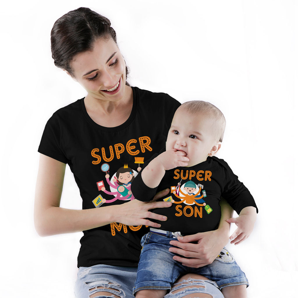 Super Mom Super Son Bodysuit And Tees