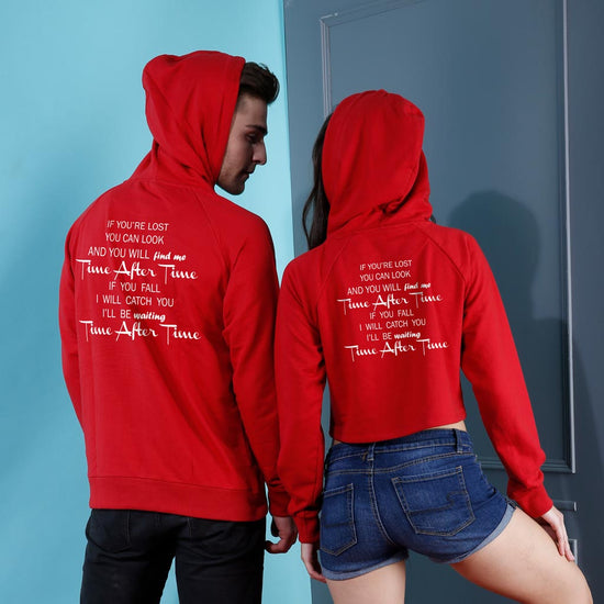 Time After Time, Matching Hoodie For Men And Crop Hoodie For Women