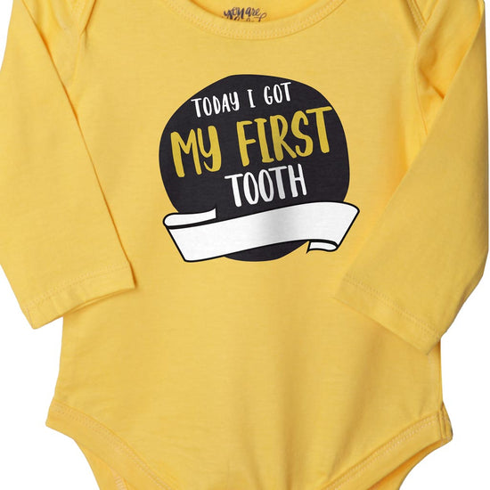My First Tooth (Yellow), Bodysuit For Baby