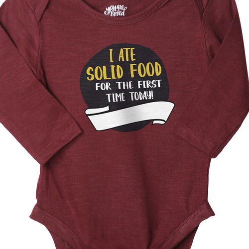 Today I Ate Solid Food For The First Time (Maroon), Bodysuit For Baby