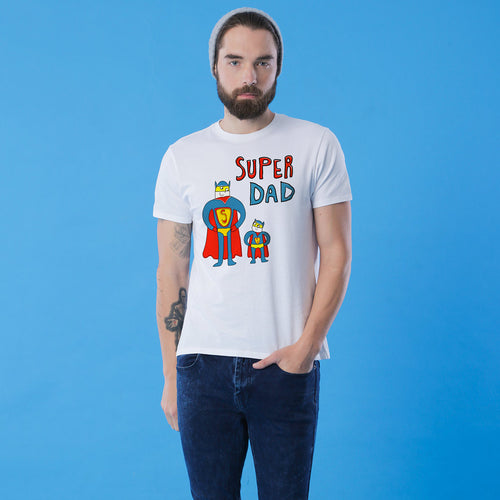 Super Dad and Son White T-Shirt